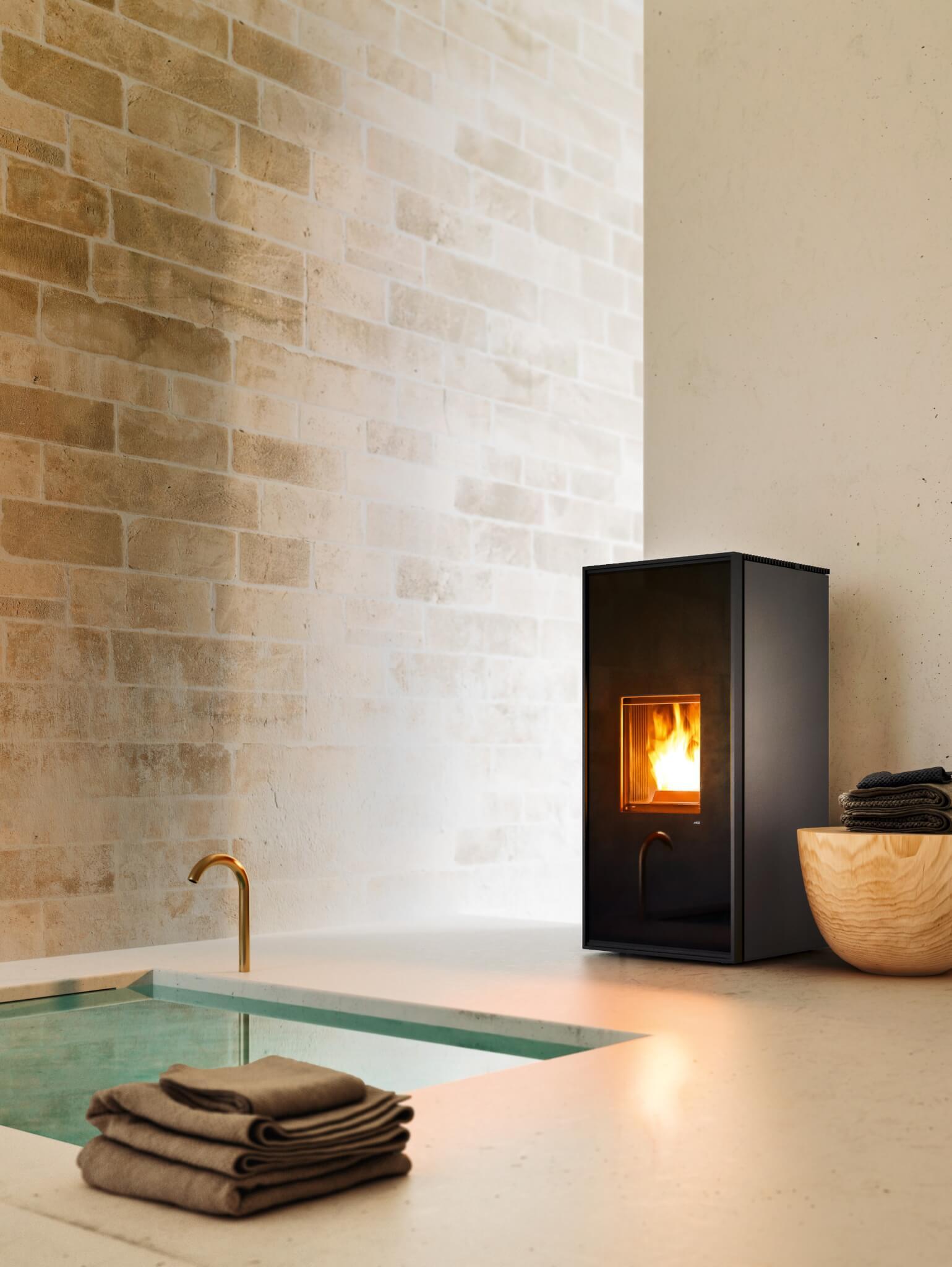 mcz pelletkachel decoratiedeur zwart glas strak modern
