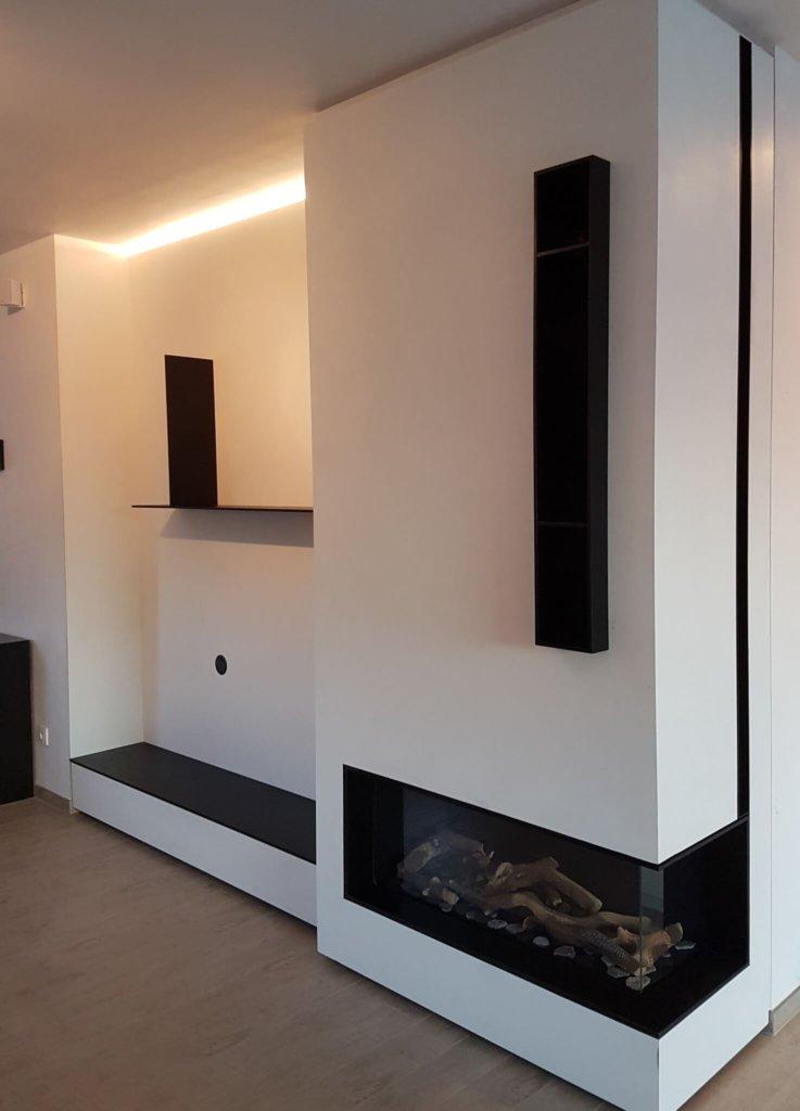 Faber Smart gashaard hoekruit rechts houtblokkendecoratie ommanteling in wit met zwarte accenten